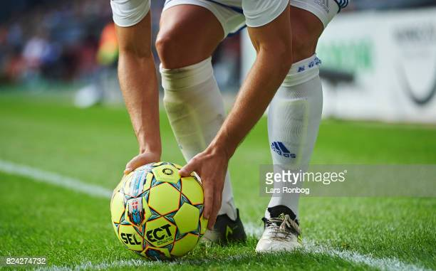 Detail view of Pierre Bengtsson of FC Copenhagen placing the Select Sport match ball on the corner spot during the Danish Alka Superliga match...