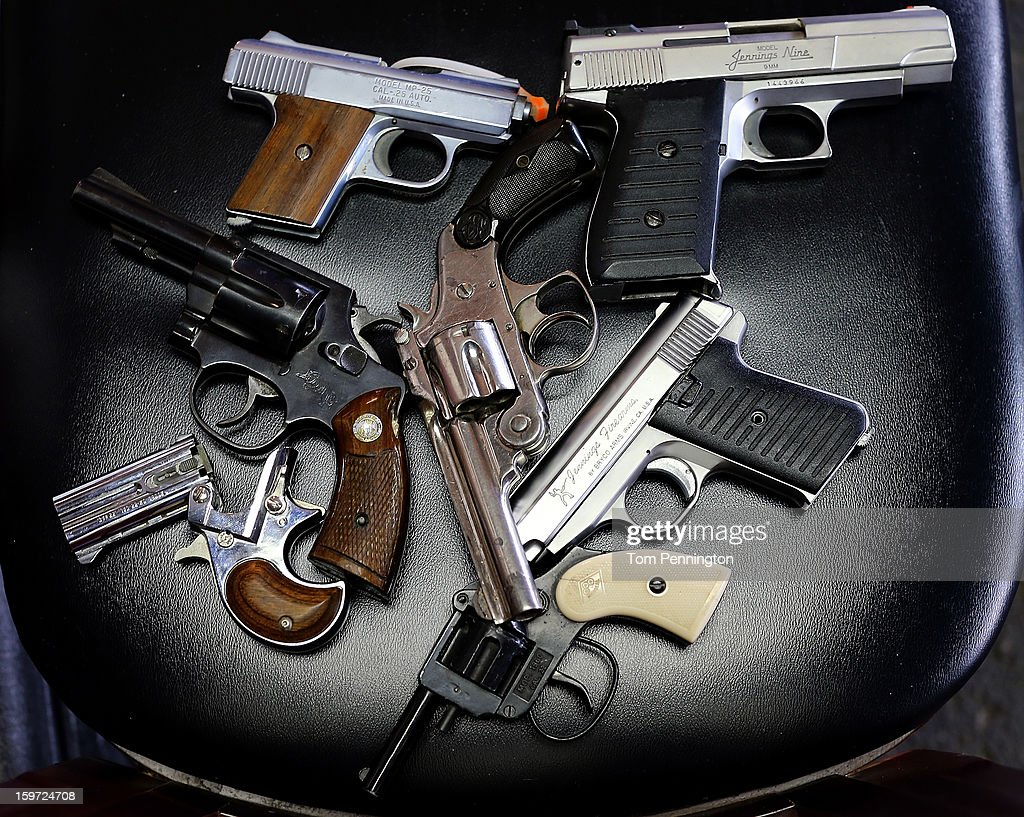 A detail view of pistols that were turned in during a gun buy back program at the First Presbyterian Church of Dallas on January 19 2013 in Dallas...
