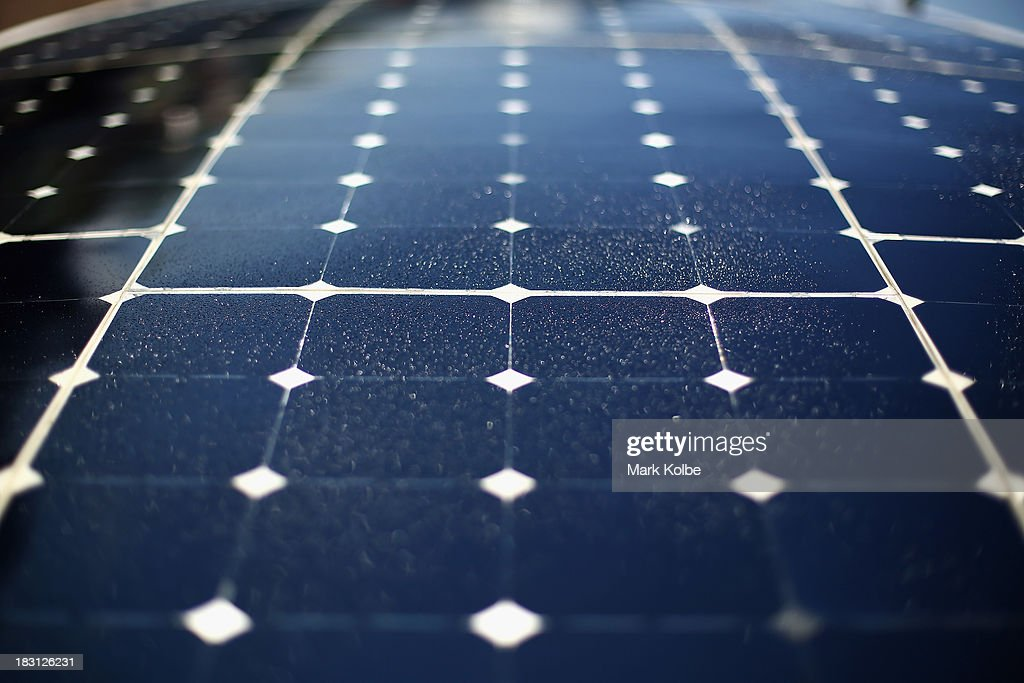 A detail view of solar panels on a car is seen during Dynamic Scrutineering on October 5, 2013 in Darwin, Australia. Over 25 teams from accross the globe will compete in the 2013 World Solar Challenge - a 3000 km solar-powered vehicle race between Darwin and Adelaide. The race begins on October 6th with the first car expected to cross the finish line on October 10th.