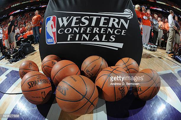 Detail view of Spalding basketballs and Western Conference Finals logo before the Los Angeles Lakers game against the Phoenix Suns in Game Six of the...