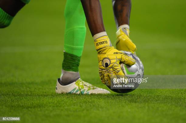 Detail view of Steeve Elana of Gazelec Ajaccio gloves during the French Ligue 2 match between Valenciennes and Gazelec Ajaccio on July 28 2017 in...