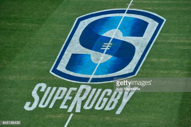Detail view of Super rugby logo during the Super Rugby Rd 1 game between Sunwolves and Hurricanes at Prince Chichibu Memorial Ground on February 25...