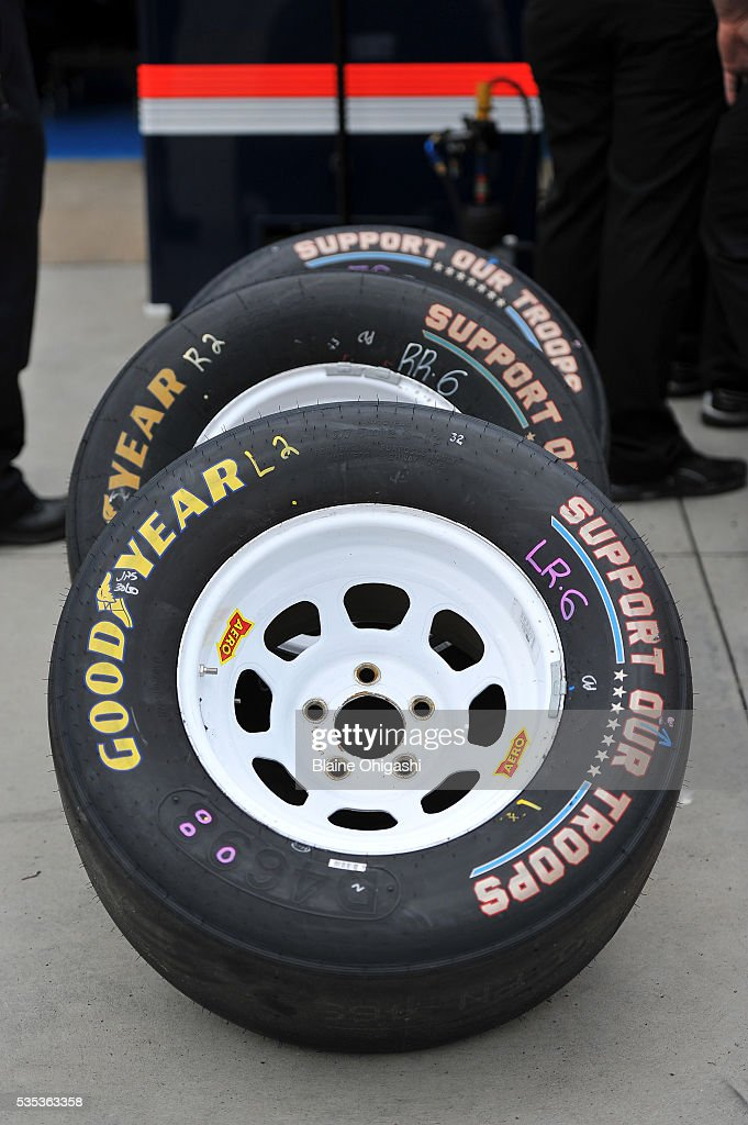 A detail view of 'Support Our Troops' Goodyear tires prior to the start of the NASCAR Sprint Cup Series Coca-Cola 600 at Charlotte Motor Speedway on May 29, 2016 in Charlotte, North Carolina.