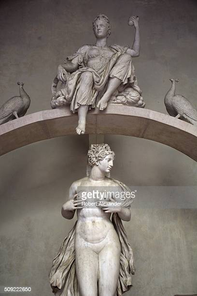 A detail view of the 16th century monumental 'Fountain for the Sala Grande' shows Venus whose breasts once gushed steams of water The marble fountain...