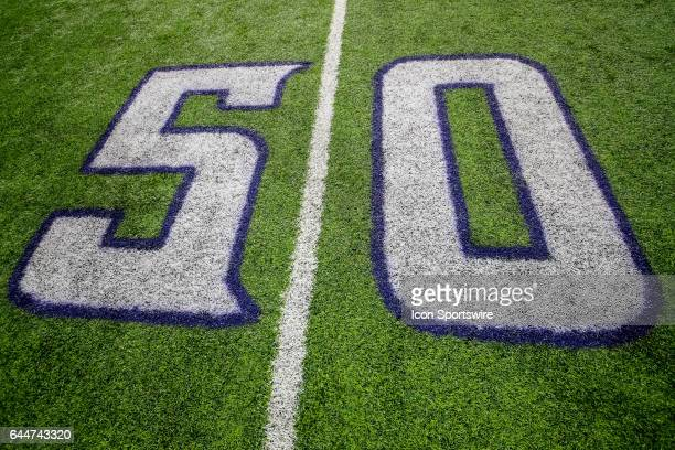 A detail view of the 50 yard line marker that is painted on the field during a game between the Minnesota Vikings and Dallas Cowboys on December 01...