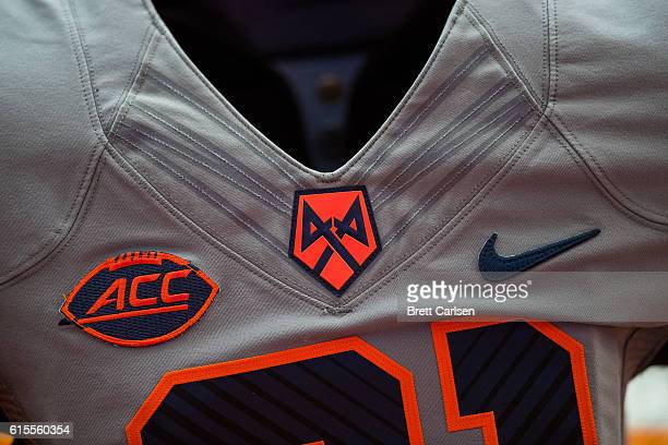 Detail view of the ACC and Nike logos on a Syracuse Orange jersey before the game against the Virginia Tech Hokies on October 15 2016 at The Carrier...