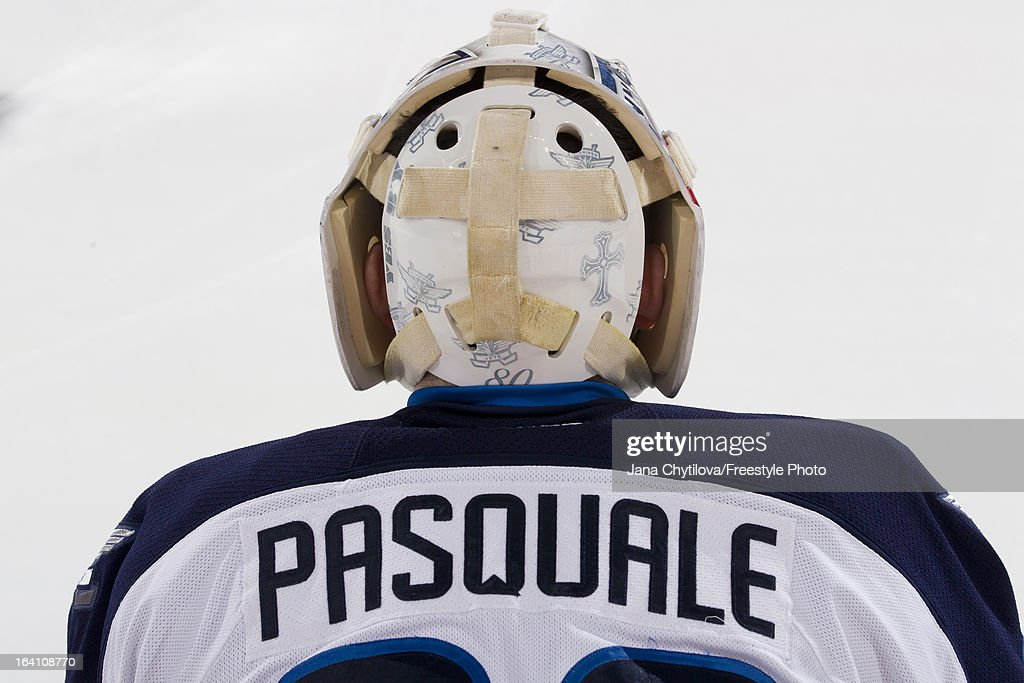 Detail view of the back of Eddie Pasquale #32 of the Winnipeg Jets during warmups prior to an NHL game against the Ottawa Senators at Scotiabank Place on March 17, 2013 in Ottawa, Ontario, Canada.
