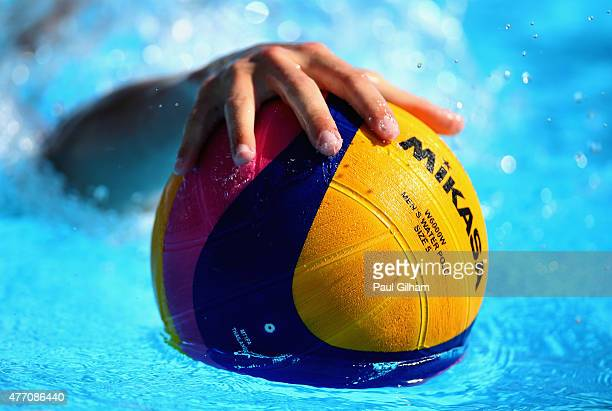A detail view of the ball during the Men's Water Polo Group Round Group A Match between Ukraine and France during day two of the Baku 2015 European...