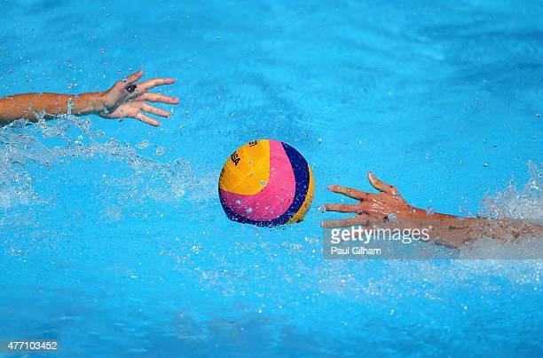 A detail view of the ball during the Men's Water Polo Group Round Group D Match between Serbia and Spain during day two of the Baku 2015 European...