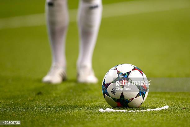 A detail view of the ball prior to a free kick during the UEFA Champions League quarterfinal second leg match between Real Madrid CF and Club...