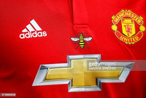 A detail view of the bee is seen on a Manchester United jersey during the International Champions Cup soccer match against Manchester City at NRG...