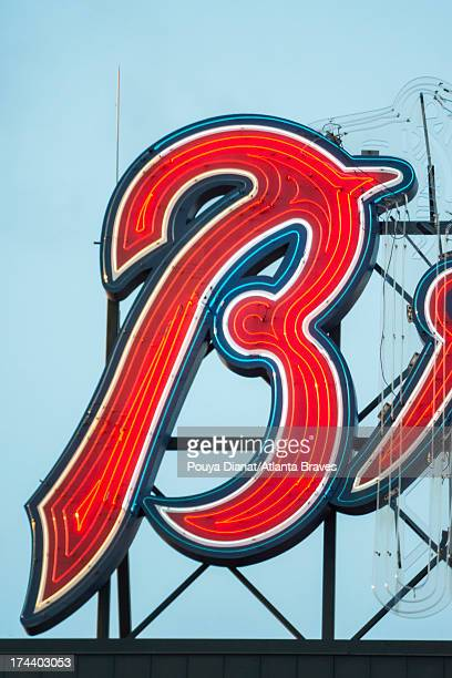 A detail view of the Braves signage during the game against the San Francisco Giants at Turner Field on June 14 2013 in Atlanta Georgia The Giants...