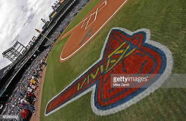 Detail view of the Braves tomahawk logo and field before the game between the Atlanta Braves and the New York Mets at Turner Field on September 21...