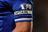 A detail view of the captain's armband belonging to John Terry of Chelsea during the Barclays Premier League match between Chelsea and Aston Villa at...