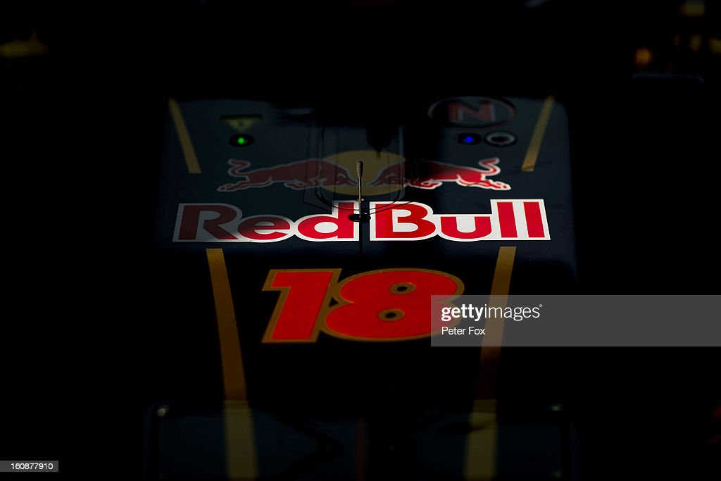 A detail view of the car belonging to Jean-Eric Vergne of France and Scuderia Toro Rosso in the team garage during Formula One winter testing at Circuito de Jerez on February 7, 2013 in Jerez de la Frontera, Spain.