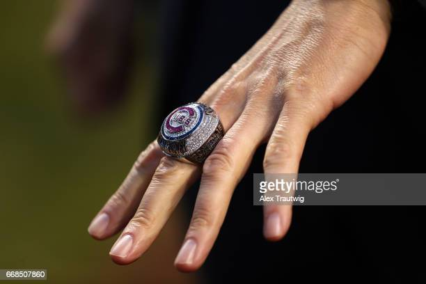 Detail view of the Chicago Cubs World Series ring during the game between the Los Angeles Dodgers and the Chicago Cubs at Wrigley Field on Wednesday...