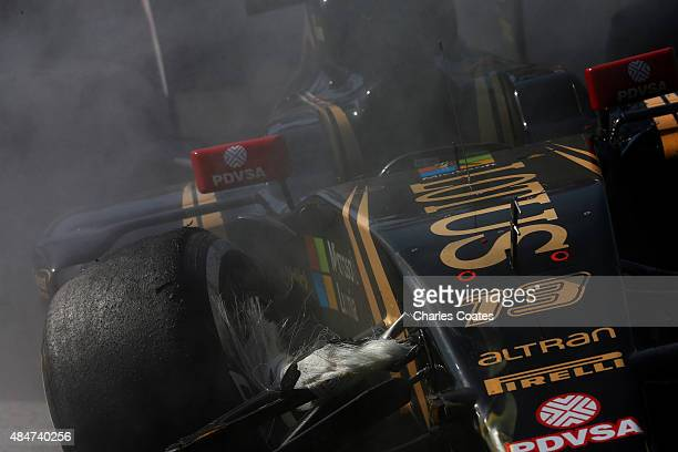 A detail view of the damage to Pastor Maldonado of Venezuela and Lotus' car following a crash during practice for the Formula One Grand Prix of...