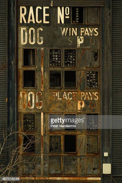 Detail view of the derelict Hackney Wick Stadium a greyhound track later demolished London England January 23 2003 The site was to be the location of...