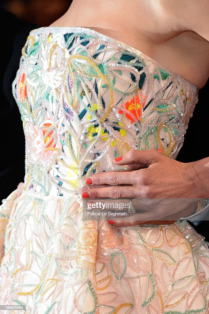 A detail view of the dress worn by jury member Nicole Kidman as she attends the Opening Ceremony and 'The Great Gatsby' Premiere during the 66th Annual Cannes Film Festival at the Theatre Lumiere on May 15, 2013 in Cannes, France.