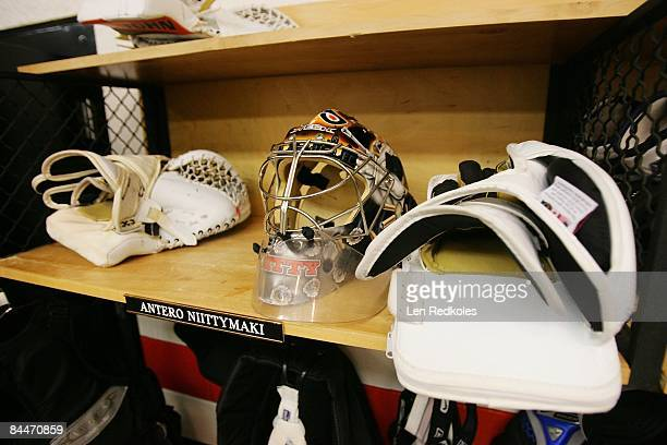 A detail view of the equipment in the locker of Antero Niittymaki of the Philadelphia Flyers on January 21 2009 at the Wachovia Center in...