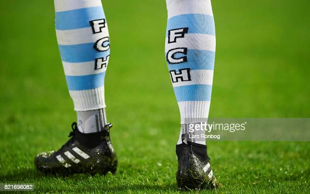 Detail view of the FC Helsingor socks during the Danish Alka Superliga match between FC Helsingor and OB Odense at Helsingor Stadion on July 24 2017...