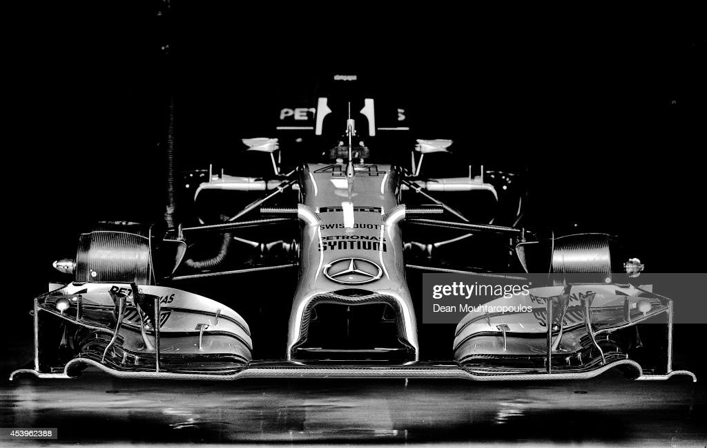 A detail view of the front wing of a Mercedes F1 car during practice ahead of the Belgian Grand Prix at Circuit de Spa-Francorchamps on August 22, 2014 in Spa, Belgium.