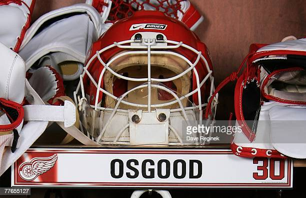 Detail view of the goalie mask of Chris Osgood of the Detroit Red Wings in his locker before the game against the San Jose Sharks on October 26 2007...