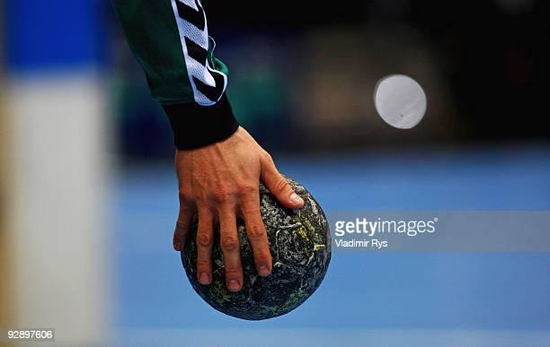 A detail view of the handball is seen during the Toyota Handball Bundesliga game between VfL Gummersbach and Rhein Neckar Loewen at Lanxess Arena on...