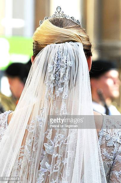 A detail view of the head dress belonging to Princess Stephanie of Luxembourg as she arrives at the wedding ceremony of Prince Guillaume Of...