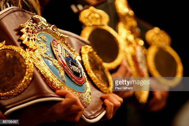 A detail view of the heavyweight belts won by David Haye in the heavyweight fight against Monte Barrett of United States at the O2 Centre on November...