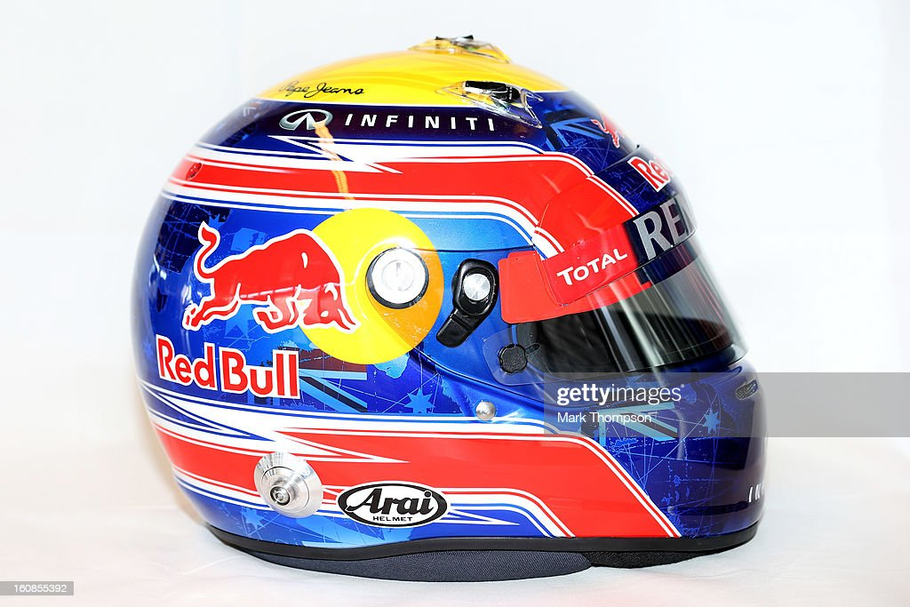 A detail view of the helmet belonging to Mark Webber of Australia and Infiniti Red Bull Racing during Formula One winter testing at Circuito de Jerez on February 6, 2013 in Jerez de la Frontera, Spain.