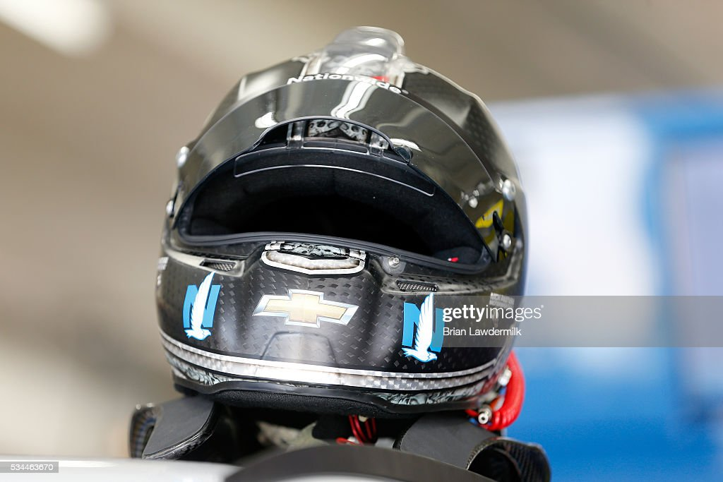 A detail view of the helmet of Dale Earnhardt Jr., driver of the #88 Nationwide Chevrolet, during practice for the NASCAR Sprint Cup Series Coca-Cola 600 at Charlotte Motor Speedway on May 27, 2016 in Charlotte, North Carolina.