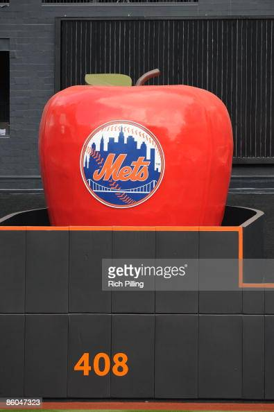 Detail view of the home run apple prior to the game between the Milwaukee Brewers and the New York Mets at Citi Field in Flushing New York on...