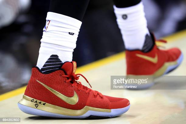 A detail view of the Kyrie 3 Nike sneakers worn by Kyrie Irving of the Cleveland Cavaliers in the second half against the Golden State Warriors in...