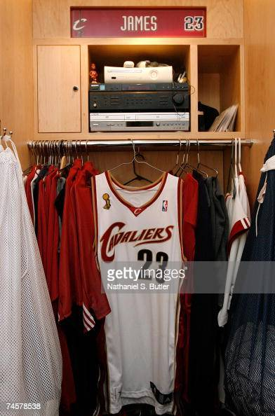 A detail view of the locker of LeBron James of the Cleveland Cavaliers prior to Game Three of the NBA Finals against the San Antonio Spurs at the...