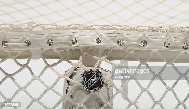 Detail view of the logo on the back of a net prior to NHL game action between the Toronto Maple Leafs and the Carolina Hurricanes February 4 2013 at...