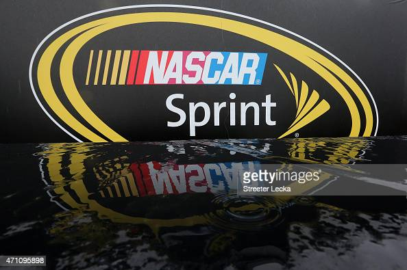 A detail view of the NASCAR Sprint Cup Series logo as rain falls prior to the NASCAR Sprint Cup Series Toyota Owners 400 at Richmond International...