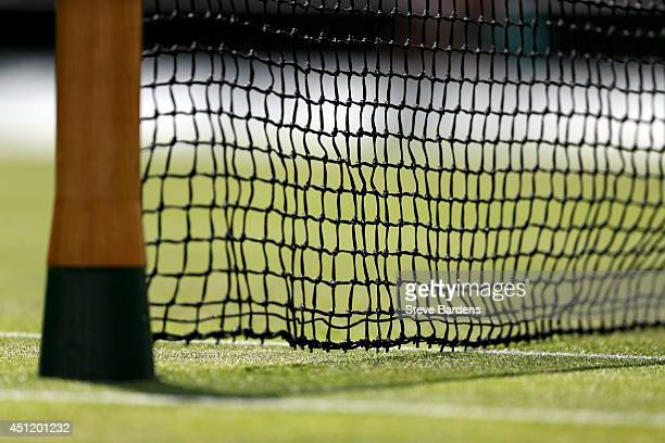 A detail view of the net on Centre Court on day three of the Wimbledon Lawn Tennis Championships at the All England Lawn Tennis and Croquet Club at...