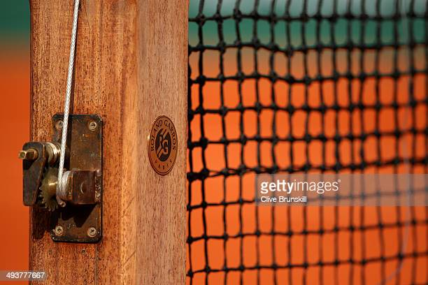A detail view of the net post and winding mechanism during a match on day one of the French Open at Roland Garros on May 25 2014 in Paris France