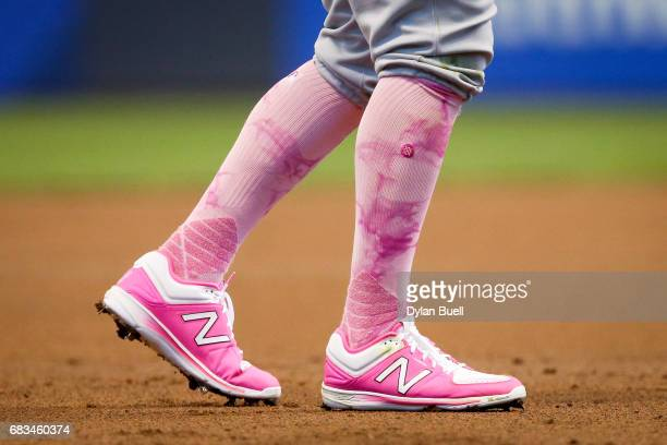 A detail view of the New Balance cleats worn by TJ Rivera of the New York Mets in the first inning against the Milwaukee Brewers at Miller Park on...