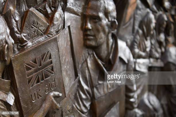 A detail view of the new memorial to men and women from the UK Armed Forces and civilians who served their country in the Gulf region Iraq and...