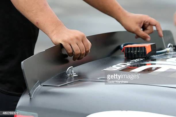 A detail view of the new shortened aerodynamic spoiler seen on the Fraternal Order of Eagles Chevrolet driven by Justin Allgaier in the garage area...