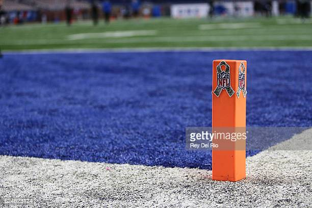 Detail view of the NFL Salute to Service logo on the end zone pylon prior to the start of the game between the Detroit Lions and the Jacksonville...