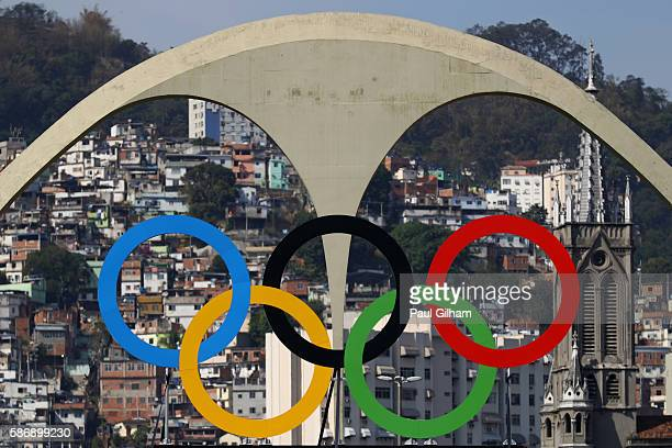 A detail view of the Olympic Rings at the Archery during the Women's Team Eliminations on Day 2 of the Rio 2016 Olympic Games at the Sambodromo on...