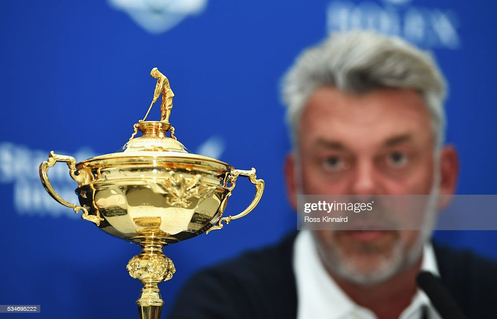 A detail view of the Ryder Cup as European Captain <a gi-track='captionPersonalityLinkClicked' href=/galleries/search?phrase=Darren+Clarke&family=editorial&specificpeople=171309 ng-click='$event.stopPropagation()'>Darren Clarke</a> of Northern Ireland announces his vice-captains Paul Lawrie of Scotland, Padraig Harrington of Ireland and Thomas Bjorn of Denmark during a press conference on day two of the BMW PGA Championship at Wentworth on May 27, 2016 in Virginia Water, England.