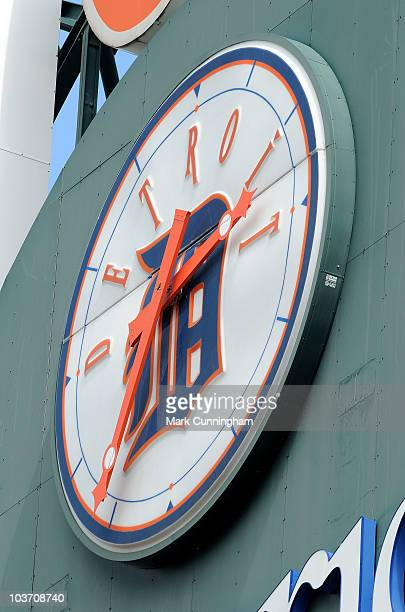 A detail view of the scoreboard clock in the interior of Comerica Park during the game between the Cleveland Indians and the Detroit Tigers at...