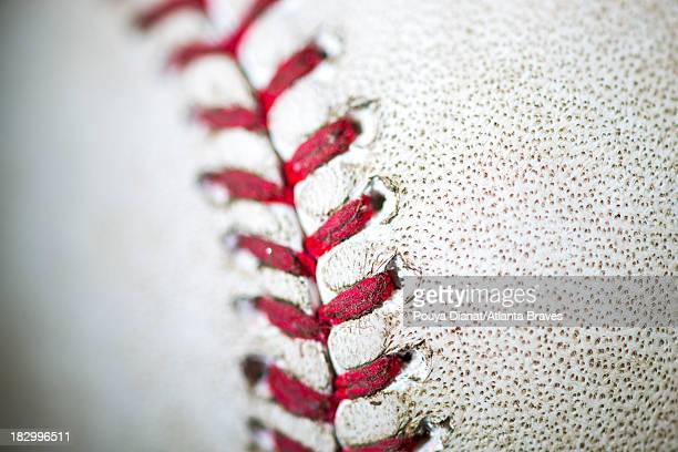 A detail view of the seams on a baseball before the game against the Cleveland Indians at Turner Field on August 27 2013 The Braves won 20