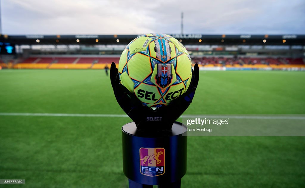 Detail view of the Select Sport match ball prior to the Danish Alka Superliga match between FC Nordsjalland and FC Helsingor at Right to Dream Park on August 21, 2017 in Farum, Denmark.