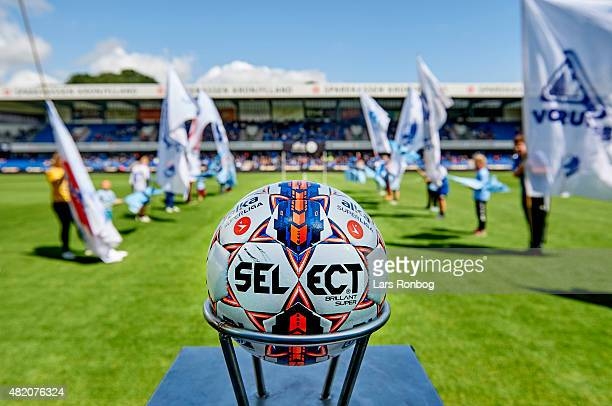 Detail view of the Select Super Brilliant match ball ready for kick off prior to the Danish Alka Superliga match between Randers FC and FC...