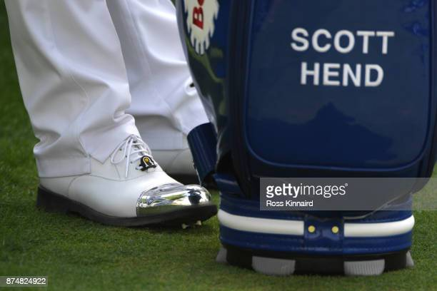 Detail View of the shoes of Scott Hend of Australia during the first round of the DP World Tour Championship at Jumeirah Golf Estates on November 16...